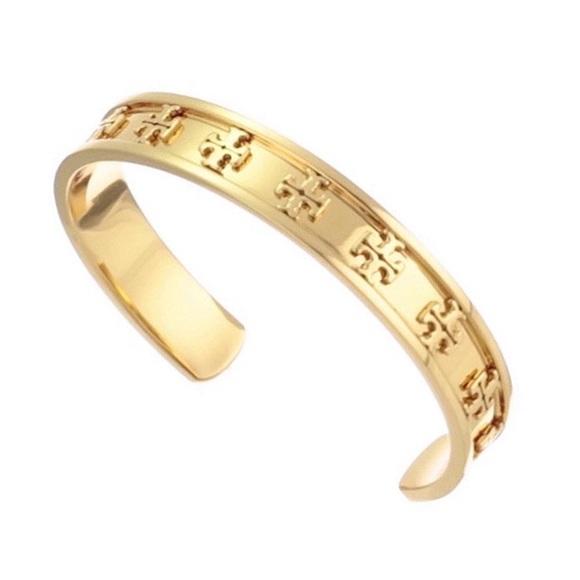 TORY BURCH • Gold Raised Logo Cuff Bracelet